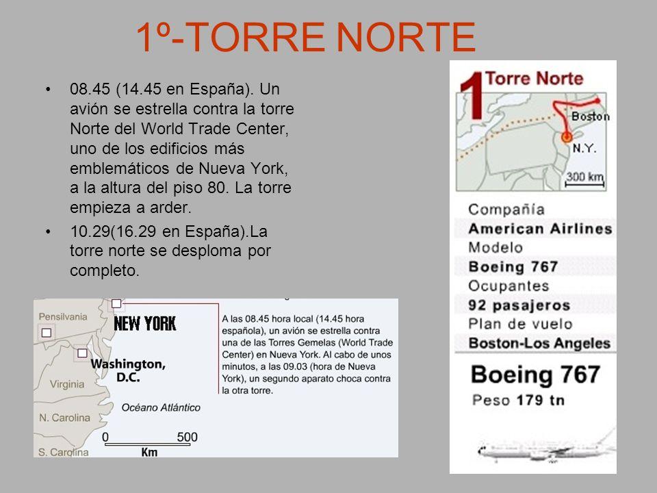 1º-TORRE NORTE 08.45 (14.45 en España). Un avión se estrella contra la torre Norte del World Trade Center, uno de los edificios más emblemáticos de Nu