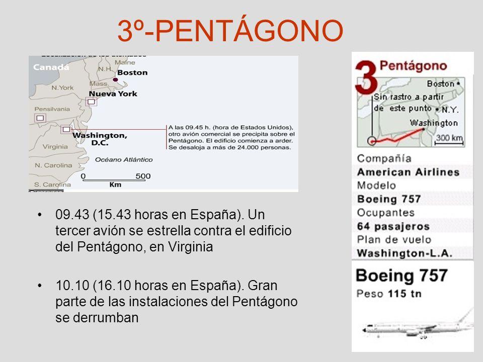 3º-PENTÁGONO 09.43 (15.43 horas en España). Un tercer avión se estrella contra el edificio del Pentágono, en Virginia 10.10 (16.10 horas en España). G