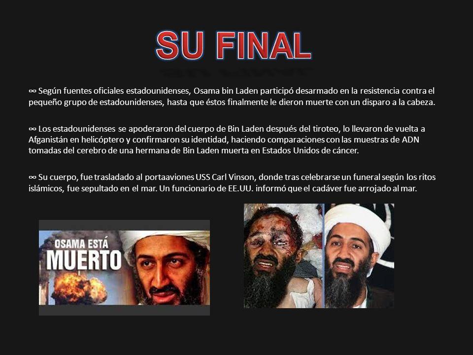 Según fuentes oficiales estadounidenses, Osama bin Laden participó desarmado en la resistencia contra el pequeño grupo de estadounidenses, hasta que é