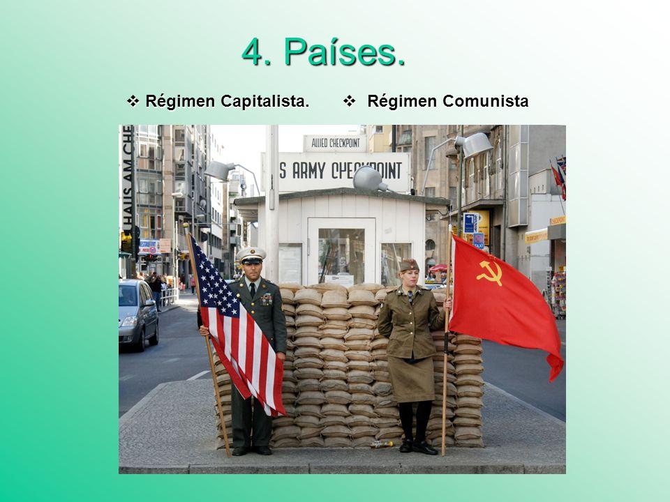 4.1 Régimen Capitalista La política exterior de EEUU iba dirigida a impedir la implantación del comunismo más allá del área de influencia soviética en Europa.