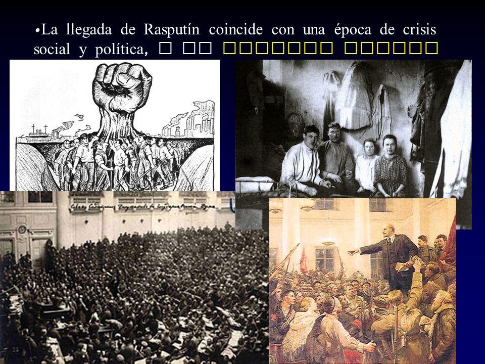 La llegada de Rasputín coincide con una época de crisis social y política, y la Primera Guerra Mundial.