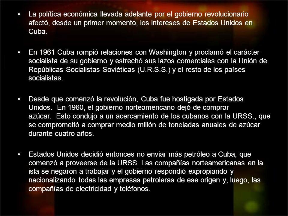 La política económica llevada adelante por el gobierno revolucionario afectó, desde un primer momento, los intereses de Estados Unidos en Cuba. En 196