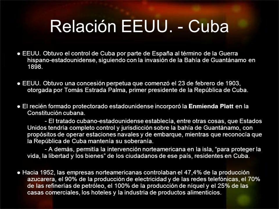 Relación EEUU. - Cuba EEUU. Obtuvo el control de Cuba por parte de España al término de la Guerra hispano-estadounidense, siguiendo con la invasión de
