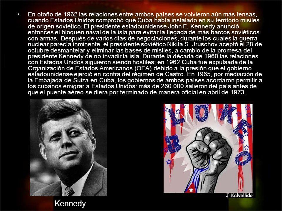 En otoño de 1962 las relaciones entre ambos países se volvieron aún más tensas, cuando Estados Unidos comprobó que Cuba había instalado en su territor