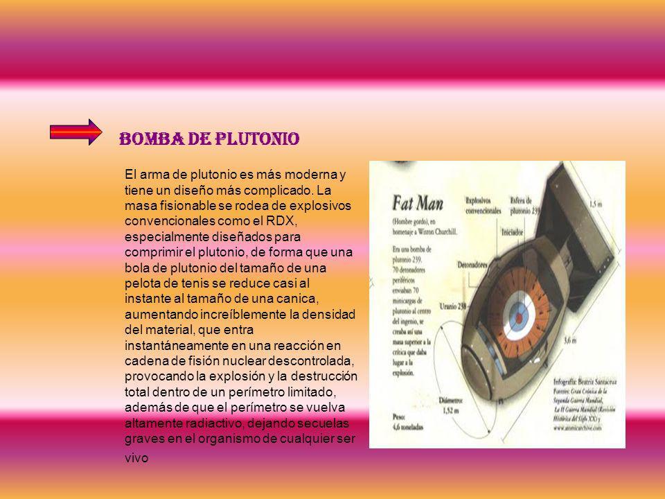 Bomba de plutonio El arma de plutonio es más moderna y tiene un diseño más complicado. La masa fisionable se rodea de explosivos convencionales como e