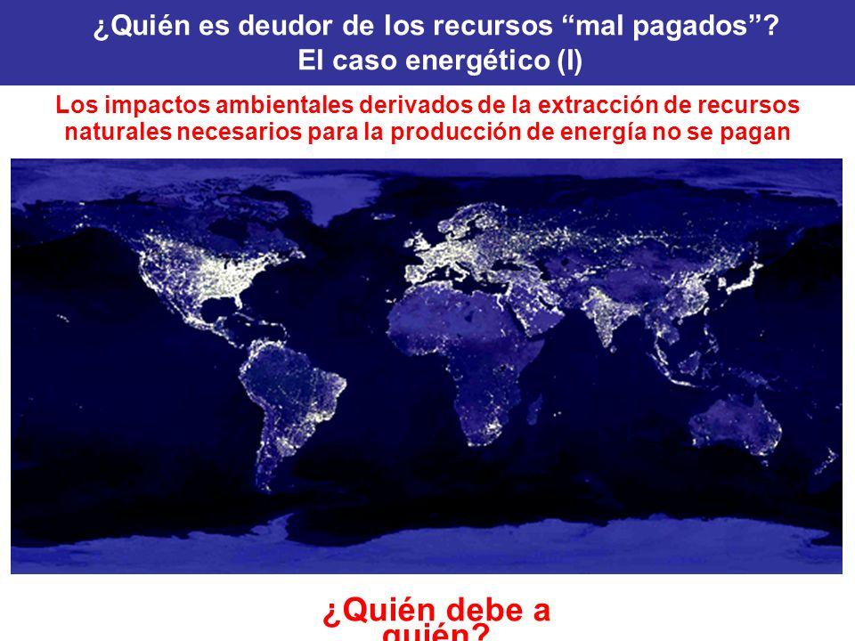 Los impactos ambientales derivados de la extracción de recursos naturales necesarios para la producción de energía no se pagan ¿Quién debe a quién? ¿Q