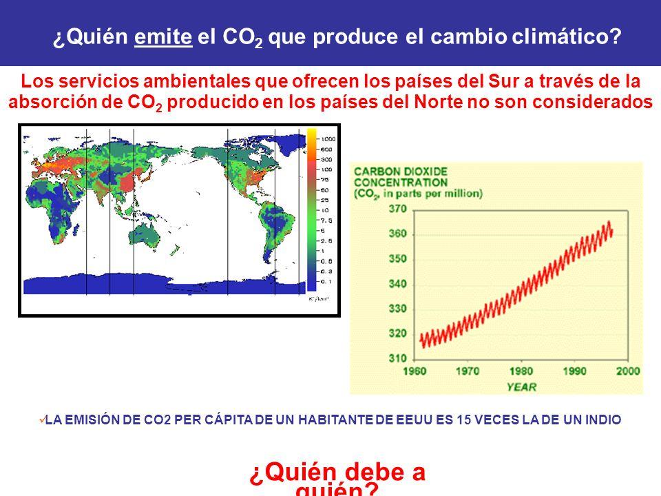 Los servicios ambientales que ofrecen los países del Sur a través de la absorción de CO 2 producido en los países del Norte no son considerados ¿Quién debe a quién.