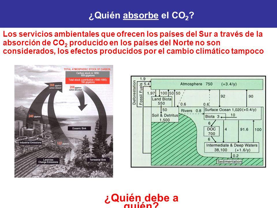 Los servicios ambientales que ofrecen los países del Sur a través de la absorción de CO 2 producido en los países del Norte no son considerados, los efectos producidos por el cambio climático tampoco ¿Quién debe a quién.