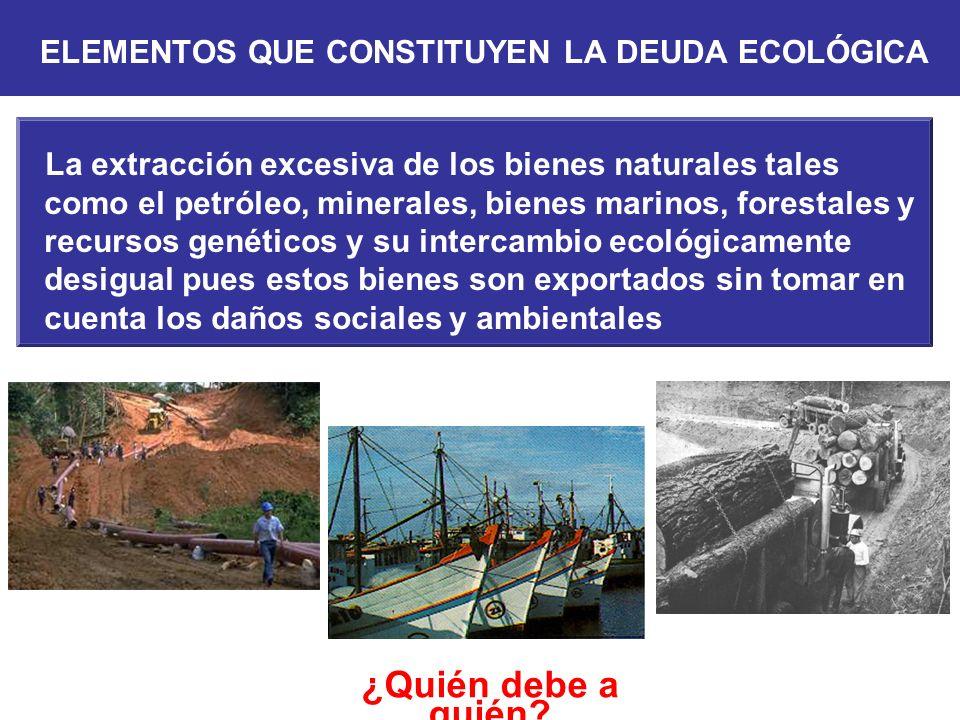 ¿Quién debe a quién? La extracción excesiva de los bienes naturales tales como el petróleo, minerales, bienes marinos, forestales y recursos genéticos