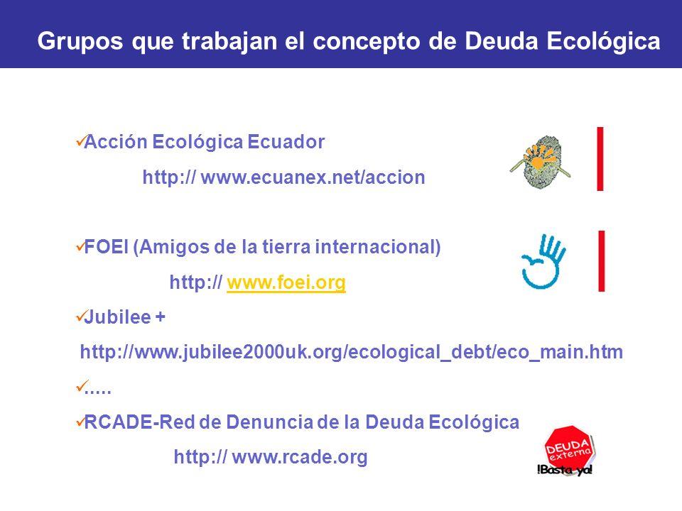 Grupos que trabajan el concepto de Deuda Ecológica Acción Ecológica Ecuador http:// www.ecuanex.net/accion FOEI (Amigos de la tierra internacional) ht