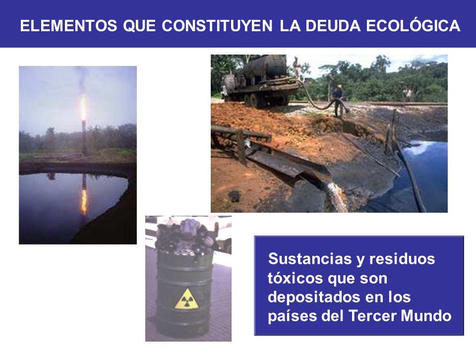 Sustancias y residuos tóxicos que son depositados en los países del Tercer Mundo ELEMENTOS QUE CONSTITUYEN LA DEUDA ECOLÓGICA