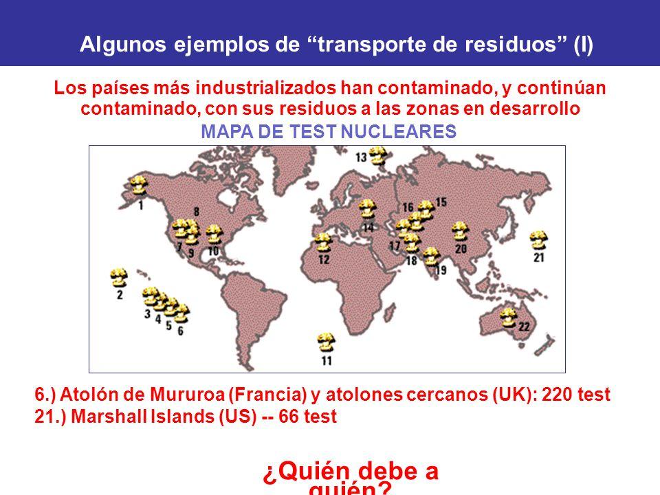 Los países más industrializados han contaminado, y continúan contaminado, con sus residuos a las zonas en desarrollo ¿Quién debe a quién? Algunos ejem