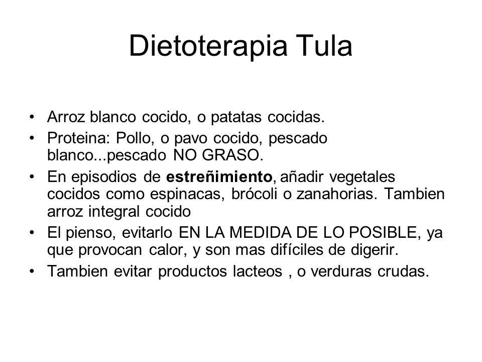 Dietoterapia Tula Arroz blanco cocido, o patatas cocidas. Proteina: Pollo, o pavo cocido, pescado blanco...pescado NO GRASO. En episodios de estreñimi