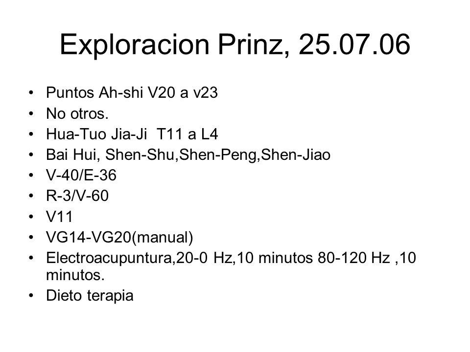 Exploracion Prinz, 25.07.06 Puntos Ah-shi V20 a v23 No otros. Hua-Tuo Jia-Ji T11 a L4 Bai Hui, Shen-Shu,Shen-Peng,Shen-Jiao V-40/E-36 R-3/V-60 V11 VG1