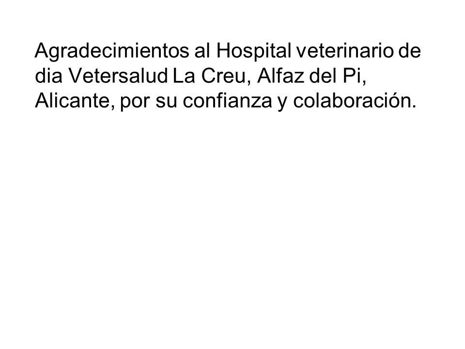 Agradecimientos al Hospital veterinario de dia Vetersalud La Creu, Alfaz del Pi, Alicante, por su confianza y colaboración.