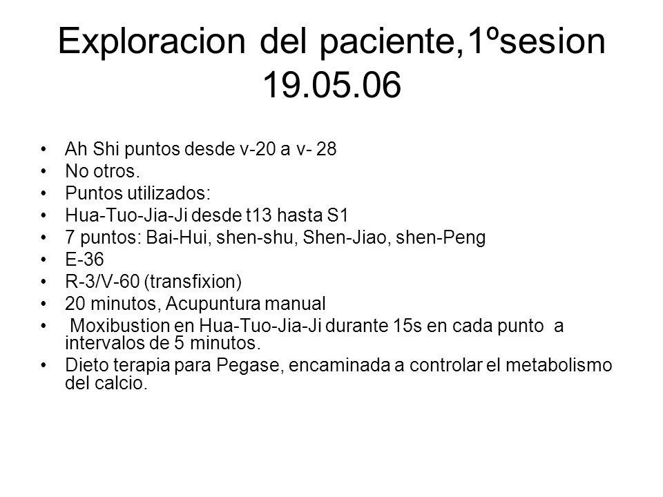 Exploracion del paciente,1ºsesion 19.05.06 Ah Shi puntos desde v-20 a v- 28 No otros. Puntos utilizados: Hua-Tuo-Jia-Ji desde t13 hasta S1 7 puntos: B