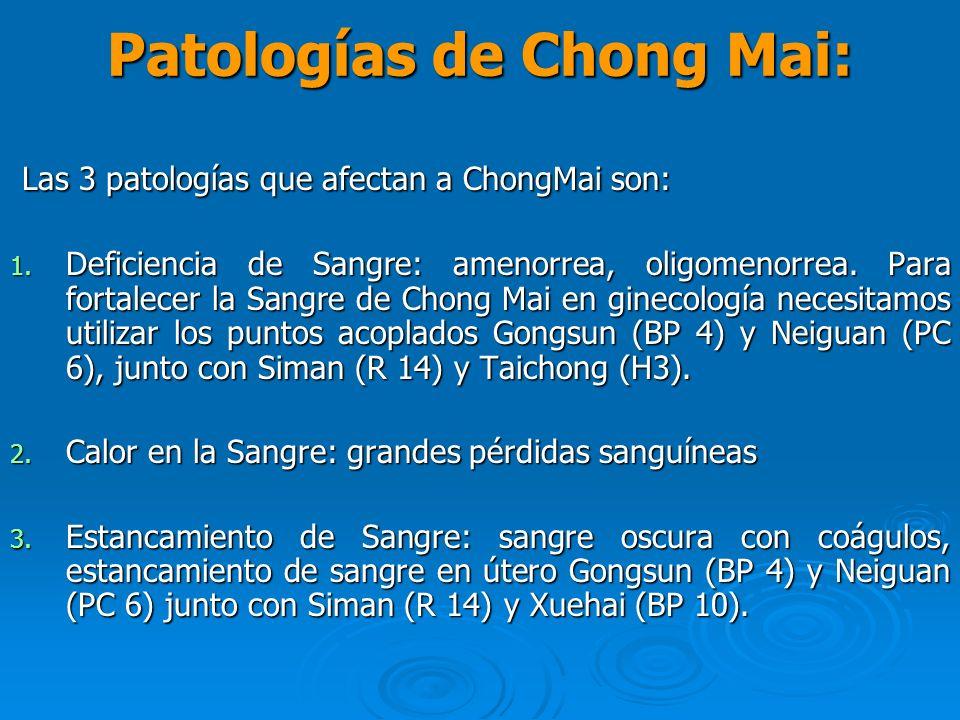 Patologías de Chong Mai: Las 3 patologías que afectan a ChongMai son: Las 3 patologías que afectan a ChongMai son: 1. Deficiencia de Sangre: amenorrea