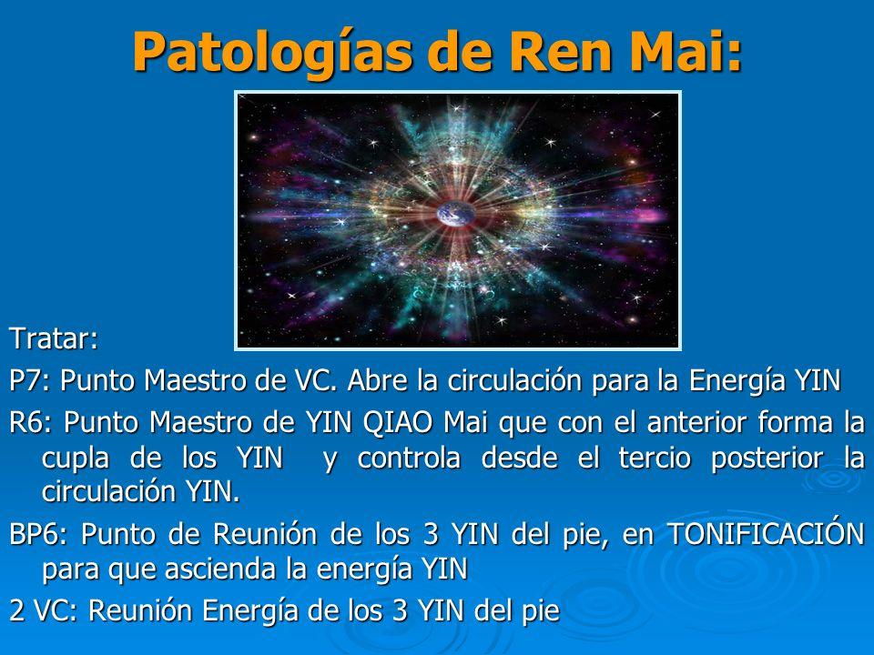Patologías de Ren Mai: Tratar: P7: Punto Maestro de VC. Abre la circulación para la Energía YIN R6: Punto Maestro de YIN QIAO Mai que con el anterior