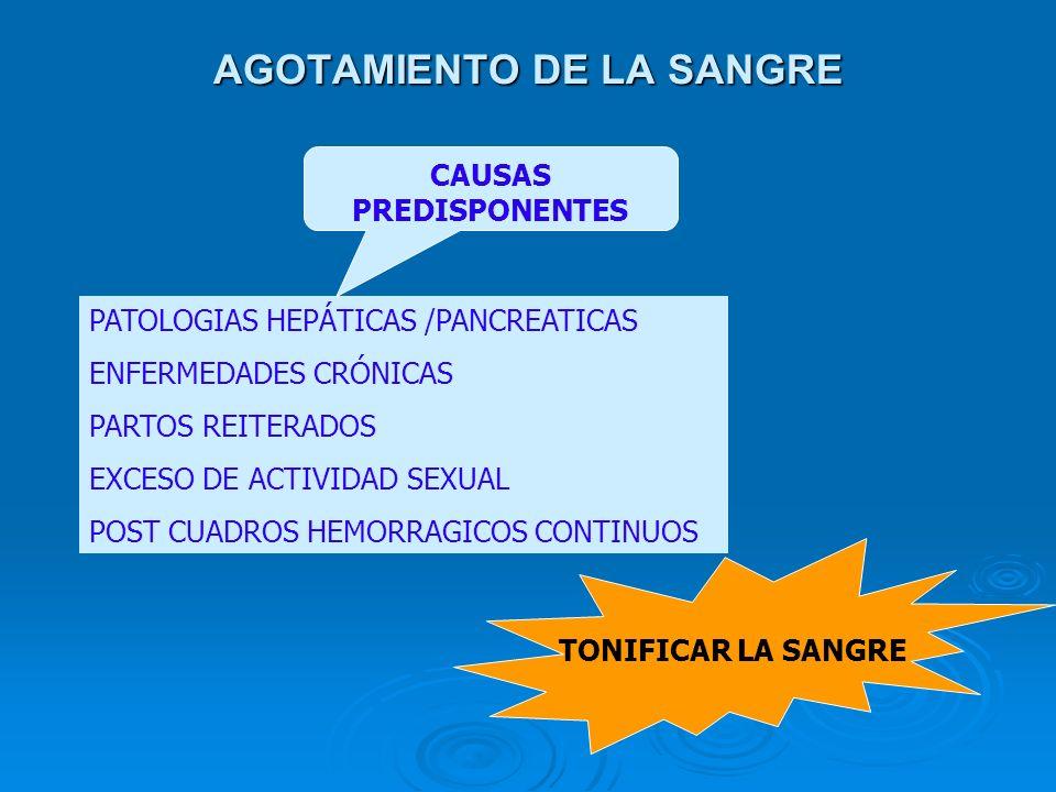 AGOTAMIENTO DE LA SANGRE PATOLOGIAS HEPÁTICAS /PANCREATICAS ENFERMEDADES CRÓNICAS PARTOS REITERADOS EXCESO DE ACTIVIDAD SEXUAL POST CUADROS HEMORRAGIC