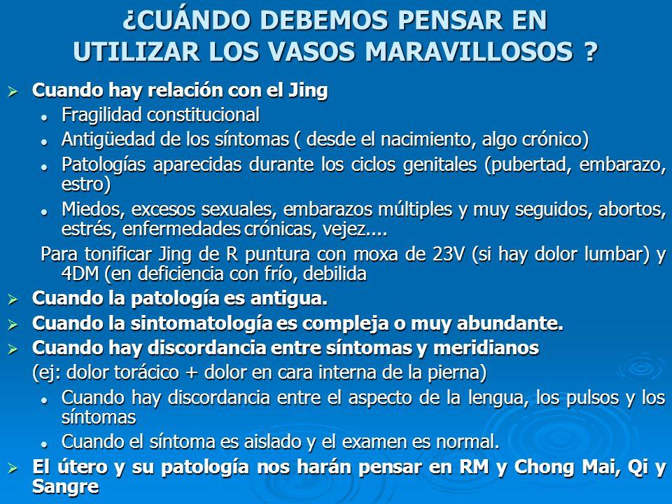 TRATAMIENTO PARA VACIO DE SANGRE: AUMENTAR LA SANGRE PARA EQUILIBRARLA CON LA ENERGIA TONIFICAR MEJOR QUE DISPERSAR TONIFICAR MEJOR QUE DISPERSAR 4 B: Abre Chong Mai y mantiene la sangre en los vasos 4 B: Abre Chong Mai y mantiene la sangre en los vasos 6 MC: Acoplado a BP4 6 MC: Acoplado a BP4 6 B: Reúne los 3 yin del pie (los que tienen más Sangre del tercio posterior) 6 B: Reúne los 3 yin del pie (los que tienen más Sangre del tercio posterior)