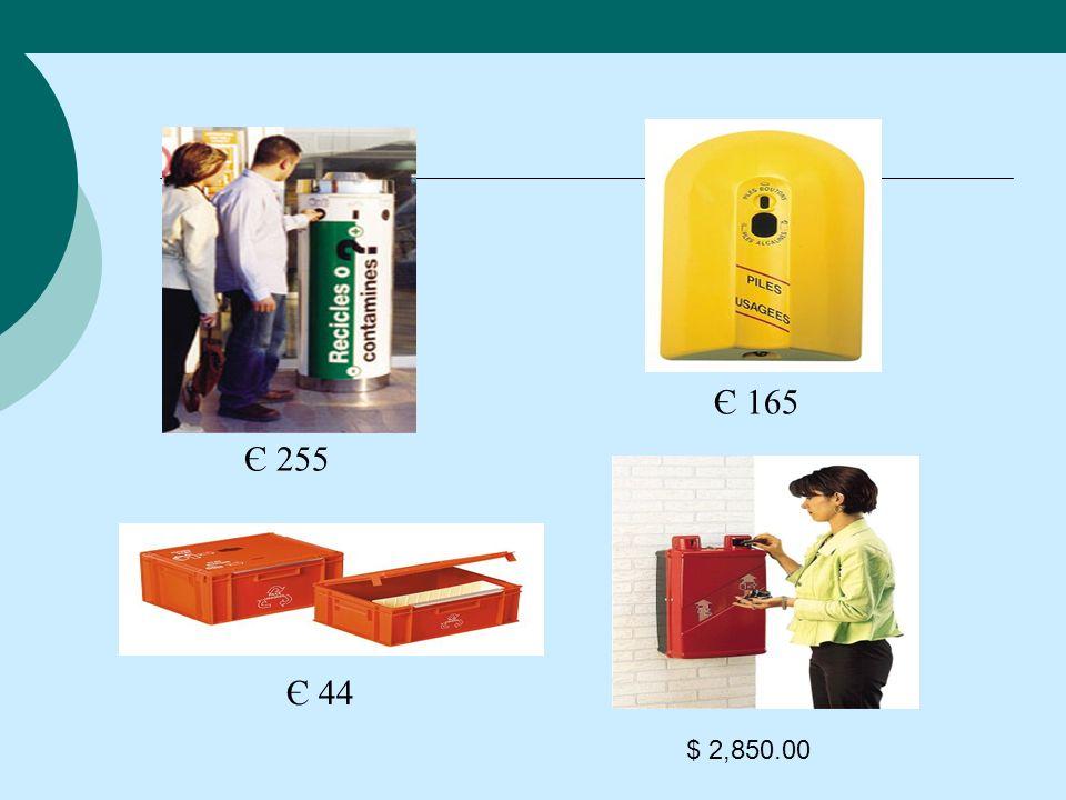 Є 255 Є 165 Є 44 $ 2,850.00 Contenedores especializados para pilas.
