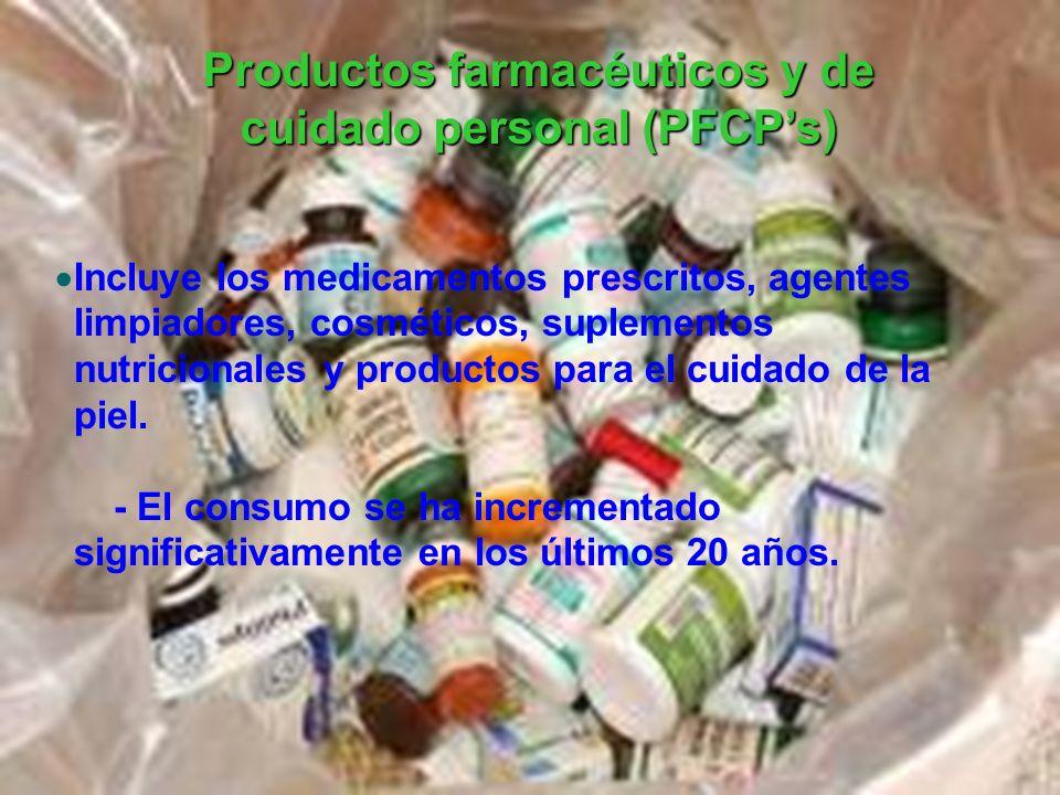Incluye los medicamentos prescritos, agentes limpiadores, cosméticos, suplementos nutricionales y productos para el cuidado de la piel. - El consumo s