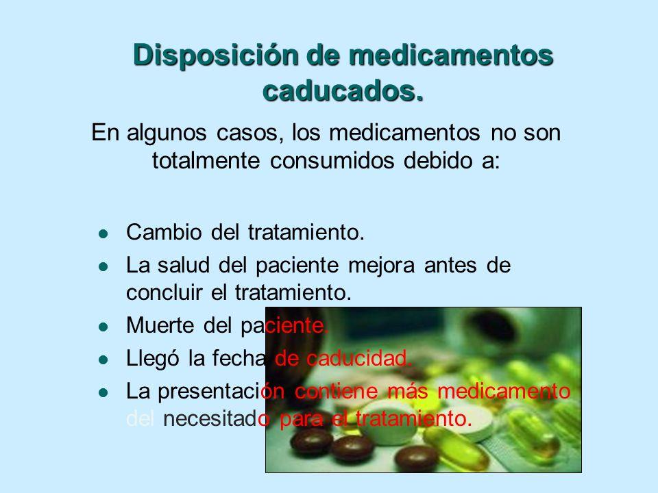 En algunos casos, los medicamentos no son totalmente consumidos debido a: Cambio del tratamiento. La salud del paciente mejora antes de concluir el tr