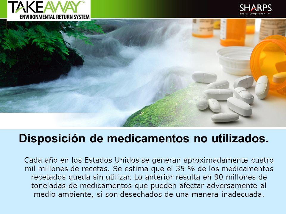 Disposición de medicamentos no utilizados. Cada año en los Estados Unidos se generan aproximadamente cuatro mil millones de recetas. Se estima que el