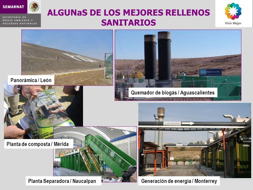 ALGUNaS DE LOS MEJORES RELLENOS SANITARIOS Panorámica / León Quemador de biogás / Aguascalientes Generación de energía / Monterrey Planta de composta