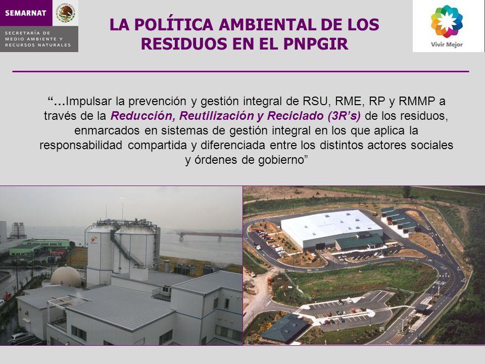 …Impulsar la prevención y gestión integral de RSU, RME, RP y RMMP a través de la Reducción, Reutilización y Reciclado (3Rs) de los residuos, enmarcado