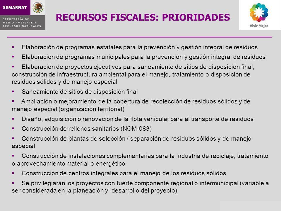 Elaboración de programas estatales para la prevención y gestión integral de residuos Elaboración de programas municipales para la prevención y gestión