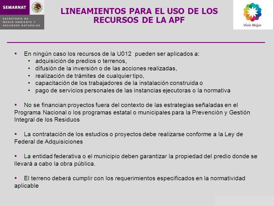 En ningún caso los recursos de la U012 pueden ser aplicados a: adquisición de predios o terrenos, difusión de la inversión o de las acciones realizada