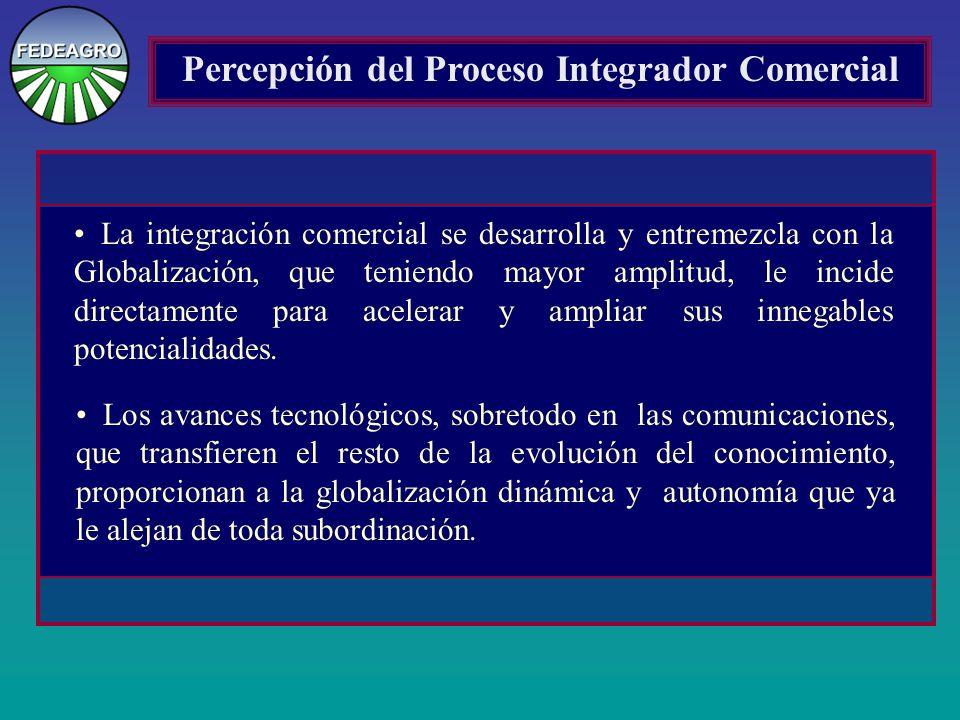Percepción del Proceso Integrador Comercial La integración comercial se desarrolla y entremezcla con la Globalización, que teniendo mayor amplitud, le incide directamente para acelerar y ampliar sus innegables potencialidades.