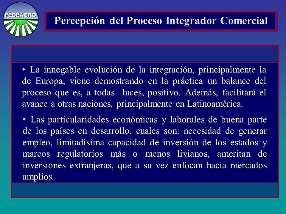 Percepción del Proceso Integrador Comercial La innegable evolución de la integración, principalmente la de Europa, viene demostrando en la práctica un balance del proceso que es, a todas luces, positivo.