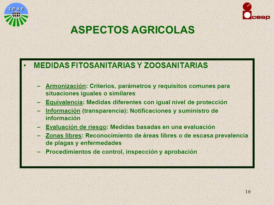 17 OTRAS MEDIDAS Sanidad de alimentos (inocuidad) Calidad de alimentos y productos agrícolas Buenas Prácticas de Manufactura Organismos Modificados Genéticamente Etiquetado Denominaciones de origen Protección al ambiente y el paisaje Tratamiento de los animales ASPECTOS AGRICOLAS