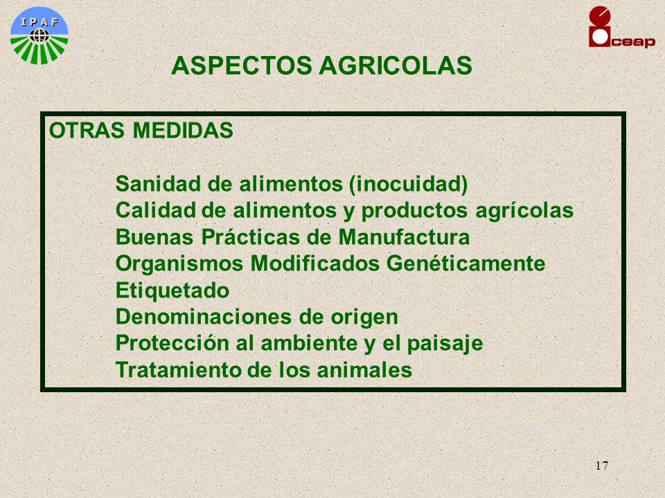 17 OTRAS MEDIDAS Sanidad de alimentos (inocuidad) Calidad de alimentos y productos agrícolas Buenas Prácticas de Manufactura Organismos Modificados Ge
