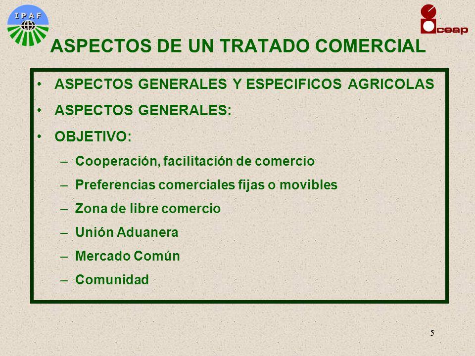 5 ASPECTOS DE UN TRATADO COMERCIAL ASPECTOS GENERALES Y ESPECIFICOS AGRICOLAS ASPECTOS GENERALES: OBJETIVO: –Cooperación, facilitación de comercio –Pr