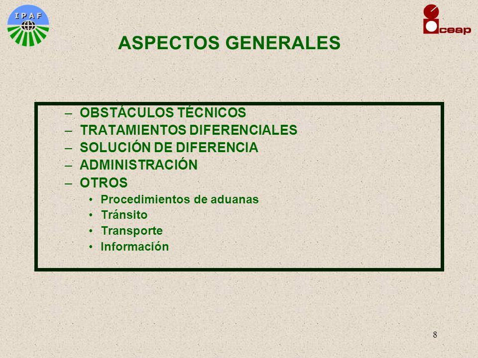 8 –OBSTÁCULOS TÉCNICOS –TRATAMIENTOS DIFERENCIALES –SOLUCIÓN DE DIFERENCIA –ADMINISTRACIÓN –OTROS Procedimientos de aduanas Tránsito Transporte Inform