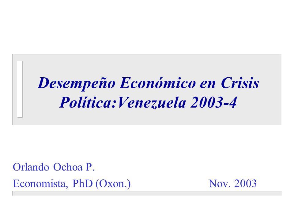Desempeño Económico en Crisis Política:Venezuela 2003-4 Orlando Ochoa P. Economista, PhD (Oxon.) Nov. 2003