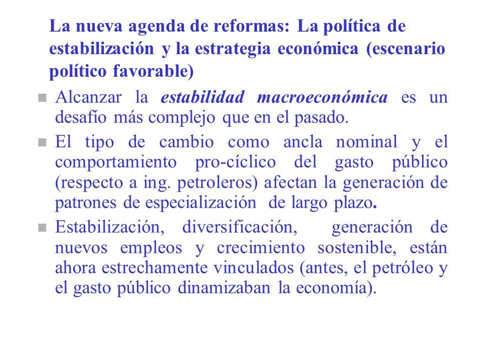 La nueva agenda de reformas: La política de estabilización y la estrategia económica (escenario político favorable) n Alcanzar la estabilidad macroeconómica es un desafío más complejo que en el pasado.