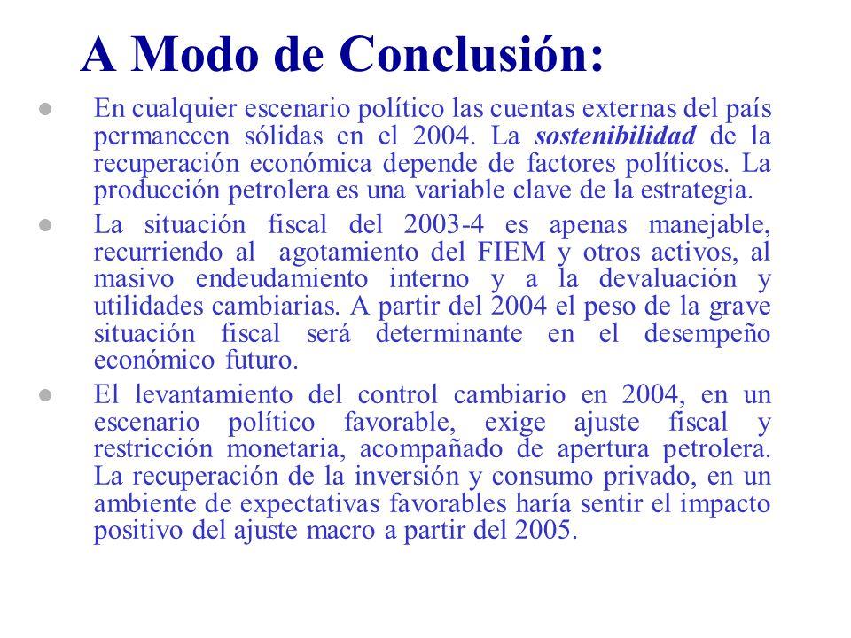A Modo de Conclusión: l En cualquier escenario político las cuentas externas del país permanecen sólidas en el 2004. La sostenibilidad de la recuperac