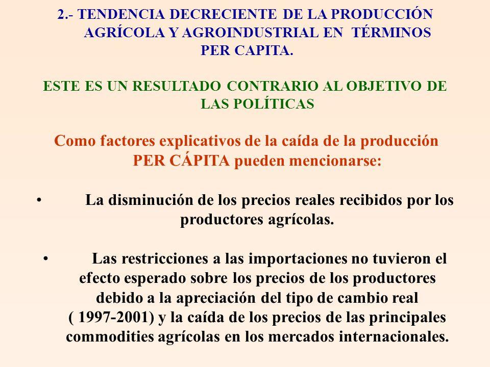 2.- TENDENCIA DECRECIENTE DE LA PRODUCCIÓN AGRÍCOLA Y AGROINDUSTRIAL EN TÉRMINOS PER CAPITA. ESTE ES UN RESULTADO CONTRARIO AL OBJETIVO DE LAS POLÍTIC