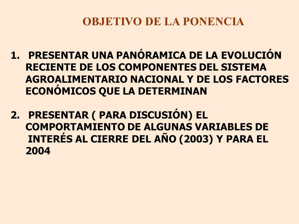 OBJETIVO DE LA PONENCIA 1. PRESENTAR UNA PANÓRAMICA DE LA EVOLUCIÓN RECIENTE DE LOS COMPONENTES DEL SISTEMA AGROALIMENTARIO NACIONAL Y DE LOS FACTORES