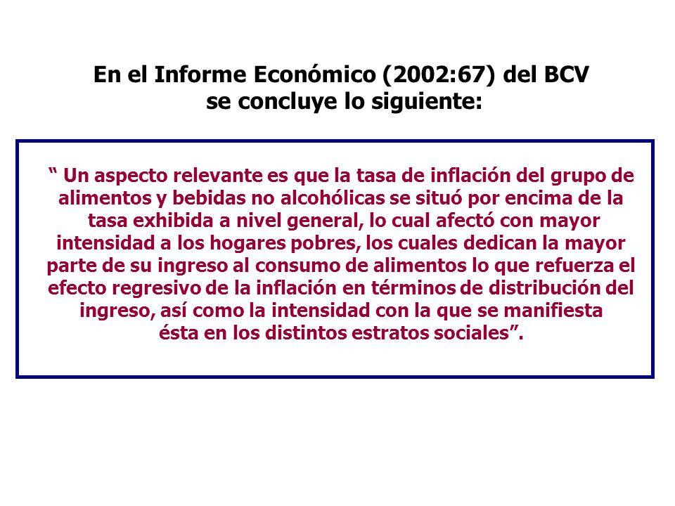 En el Informe Económico (2002:67) del BCV se concluye lo siguiente: Un aspecto relevante es que la tasa de inflación del grupo de alimentos y bebidas