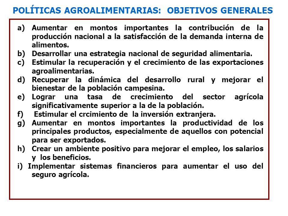 POLÍTICAS AGROALIMENTARIAS: OBJETIVOS GENERALES a)Aumentar en montos importantes la contribución de la producción nacional a la satisfacción de la dem