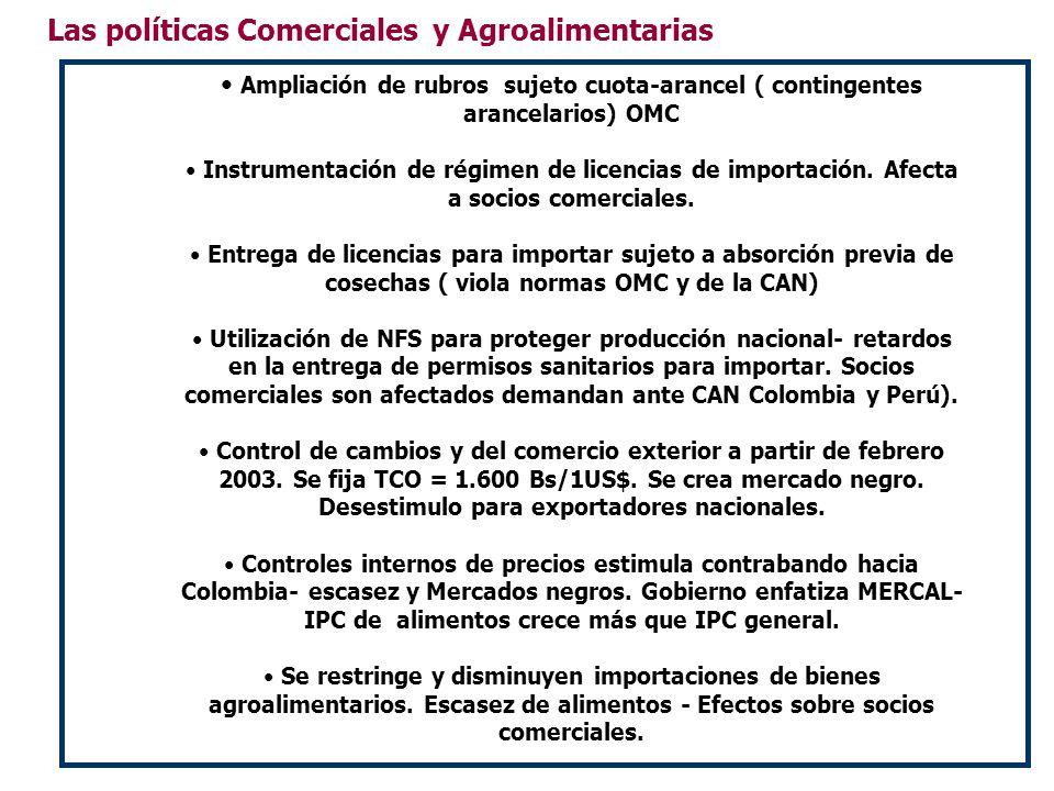 Las políticas Comerciales y Agroalimentarias Ampliación de rubros sujeto cuota-arancel ( contingentes arancelarios) OMC Instrumentación de régimen de