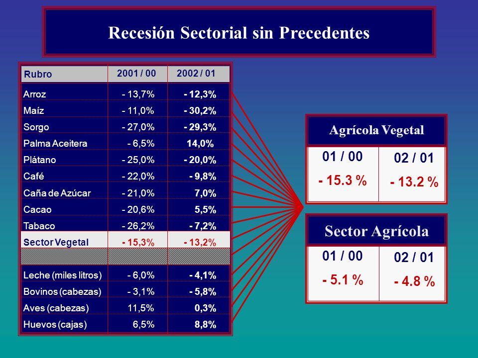 Recesión Sectorial sin Precedentes 01 / 00 - 15.3 % Agrícola Vegetal 02 / 01 - 13.2 % 01 / 00 - 5.1 % Sector Agrícola 02 / 01 - 4.8 % Rubro Arroz Maíz
