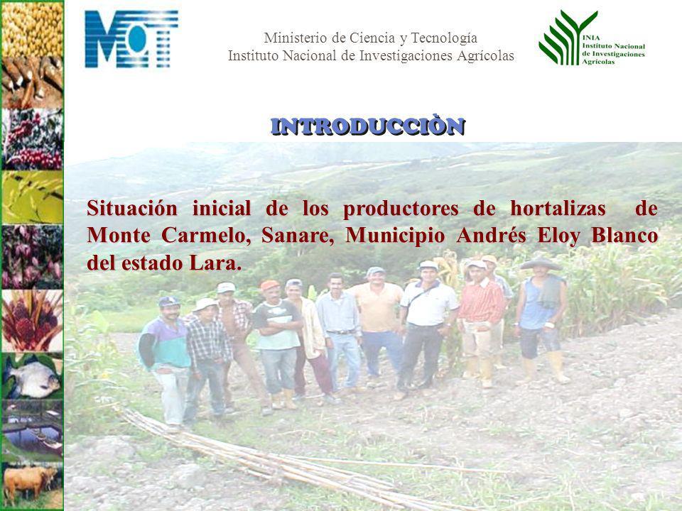 Ministerio de Ciencia y Tecnología Instituto Nacional de Investigaciones Agrícolas Situación inicial de los productores de hortalizas de Monte Carmelo