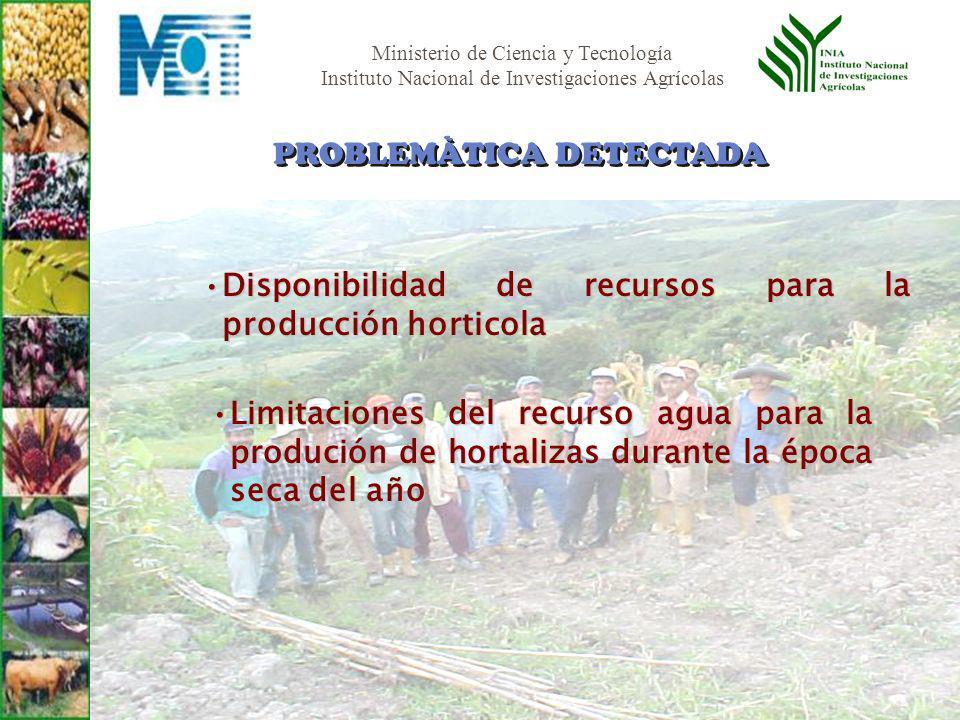Ministerio de Ciencia y Tecnología Instituto Nacional de Investigaciones Agrícolas Disponibilidad de recursos para la producción horticolaDisponibilid