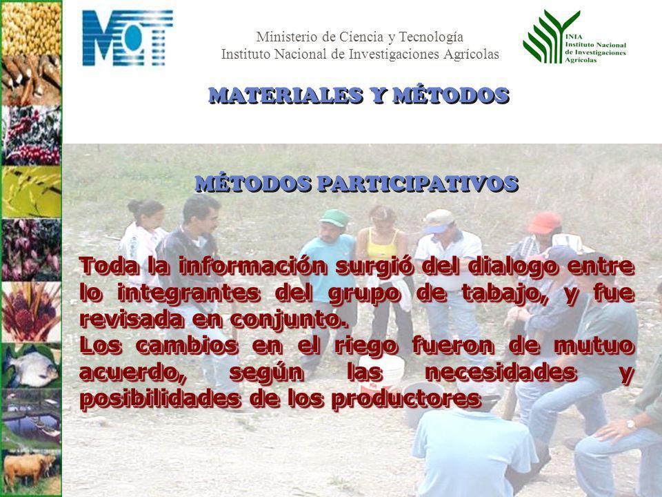 Ministerio de Ciencia y Tecnología Instituto Nacional de Investigaciones Agrícolas Toda la información surgió del dialogo entre lo integrantes del gru